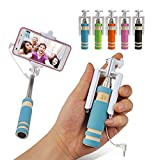 Mini Selfie Stick Monopod with Aux Cable for Apple iPhone, All Android Smartphones No Bluetooth, No Charging required (Assorted Colors)