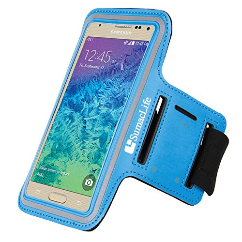 SumacLife Premium Sports Exercise Gym Sport Armband case For Samsung Galaxy J7 J5 / Amp 2 / Amp Prime / Kyocera Hydro Reach / Lenovo Vibe K5 Plus (Blue)