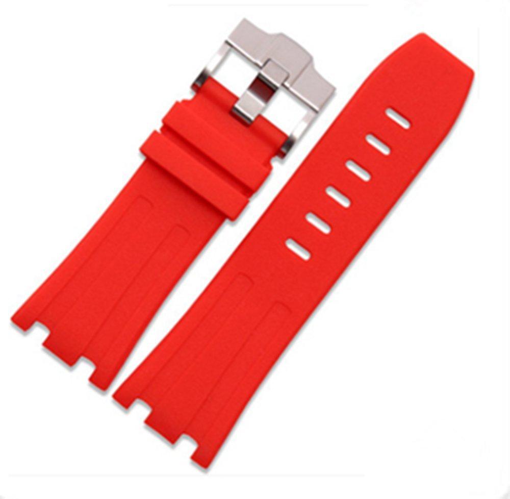 28mm Rubber Watch Strap Band OEM style for AP100 Audemars Piguet Royal Oak offshore Multi Camo Color (Red)