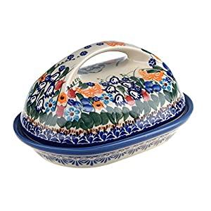 Classic Boleslawiec, Polish Pottery Hand Painted Stoneware, Ceramic Butter Dish with lid, 331 – All Collection (331-U-099-Q1)
