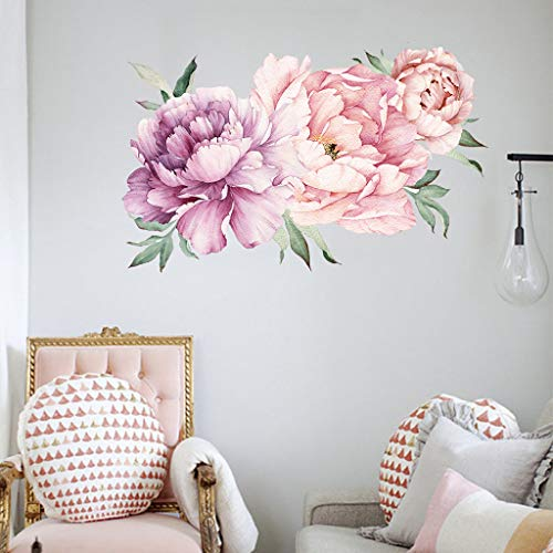 Fine Rose Flowers Wall Sticker,Peony Rose Flowers Wall Sticker Art Nursery Decals Kids Room Home Decor Gift (Multicolor)