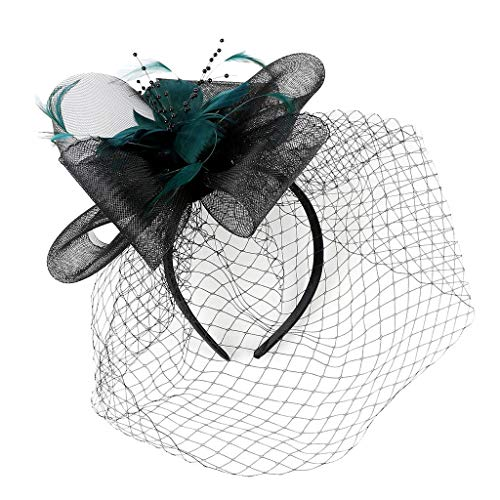 JIUDASG Fascinator Hats Women Tea Party Wedding Feather Cocktail Headwear Clip -