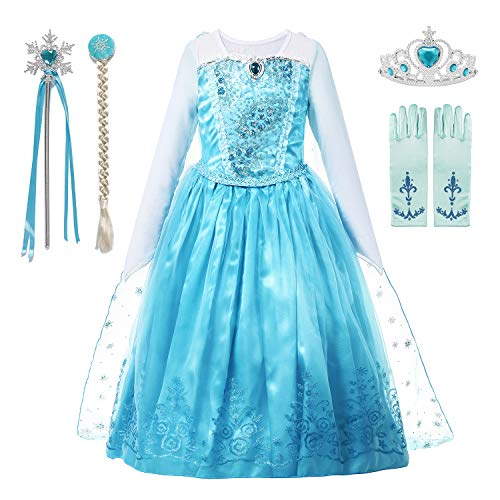 aibeiboutique Girls Princess Costume Ice Snow Queen Sequin Cosplay Dress up(3-4 Years)]()