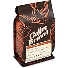 Coffee Bruvet Bourbon Vanilla Flavored Coffee Beans, Whole Roasted Organic Colombian Arabica Coffee, 4 Oz.-3pack