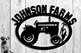 Large Tractor Farm Custom Sign Steel Family Farm Name Hand Made Metal Sign (30w x 23.5) Personalized Sign
