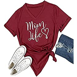 Pxmoda Women's Mom Love Life Print V Neck T Shirt Tops (L, F-Wine)