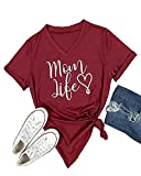 Pxmoda Women's Mom Love Life Print V Neck T Shirt TopsDelivery: 10-15 Days Via USPS
