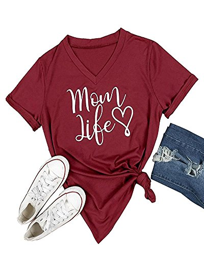 Pxmoda Women's Mom Love Life Print V Neck T Shirt Tops (M, F-Wine)