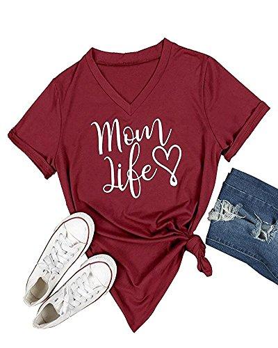Mom T-shirt (Pxmoda Women's Mom Love Life Print V Neck T Shirt Tops (XL, F-Wine))