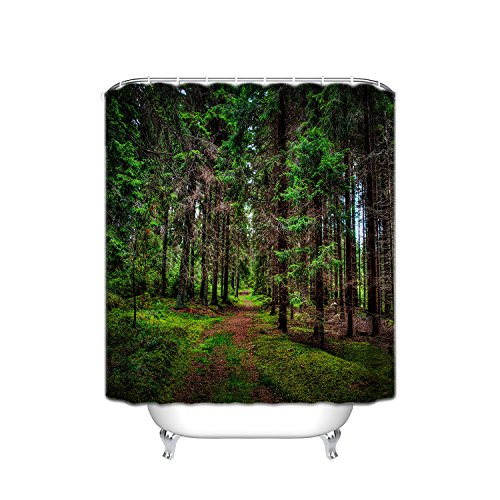 - Wilderness Forest Outdoor Shower Curtain, Colourful Summer Sunrise, Wildflower Grass Landscape In The Trees Forest, Polyester Fabric Mildew Showerproof Shower Curtain, 72 X 84 Inches, Green/Brown