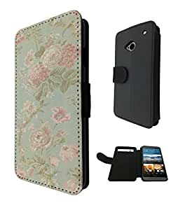 564 - Cute Vintage shabby Chic Floral Roses Pink Design Fashion Trend TPU Leather Flip Case For htc one M7 Full Case Flip Credit Card TPU Leather Purse Pouch Defender Stand Cover