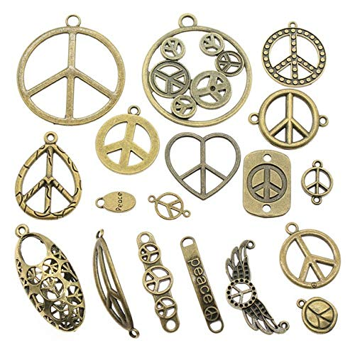 Chengxun 72Pcs Wholesale Bulk Mixed Antique Peace Sign Pendant Charms for Jewelry Making DIY Crafting Vintage Accessories