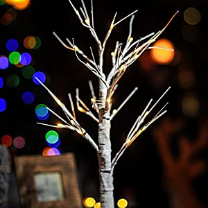 Christmas Festival LED White Birch Light Tree 69