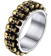 U7 Skull Rings for Men Women Retro Black Enamel Stainless Steel Skeleton Head Gothic Punk Jewelry...