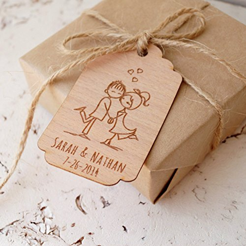 [Wedding Favor Tags, Personalized Thank You Tags, Rustic Custom Favor Tags, Engraved Wooden Veneer Tags- Set of 25 pieces] (Handmade Wedding Tag)
