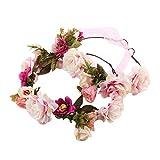 Auranso Floral Hair Garland Flower Wreath Boho Bridesmaid Bridal Adjustable Headband Wedding Beach Headress (Pink Mommy & Me Set Of 2)