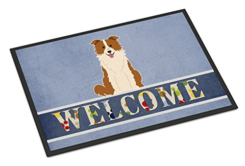 Caroline's Treasures Border Collie Red White Welcome Doormat 18 x 27 Multicolor from Caroline's Treasures