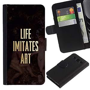 KingStore / Leather Etui en cuir / Samsung Galaxy S3 III I9300 / Vida Imita Cotización del oro del arte del cartel del texto