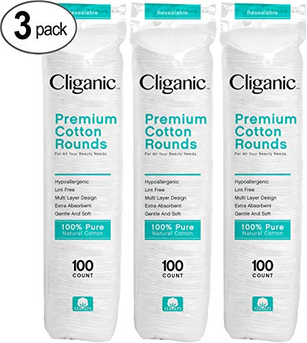Cliganic Premium Cotton Rounds for Face (300 Count) | Makeup Remover Pads, Hypoallergenic, Lint-Free | 100% Pure Cotton -