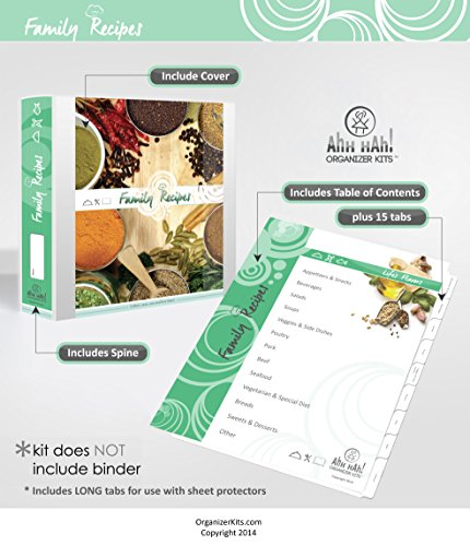 Ahh Hah! Family Recipe Organizer Kits: LONG Index Tabs for Three-ring Binder with Cover (5 Ring Tab Book)