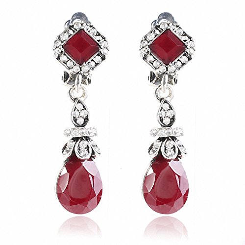 Womens Trendy Vintage Silver Color Black Earring Clips No Pierced Ear Clips Earrings Long Earings Red by Dawery
