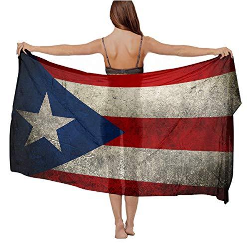 Elegant Oversized Chiffon Shawl Scarf for Women Beach Wrap Swimsuit Sarong Bikini Coverup - Vintage Puerto Rico Flag