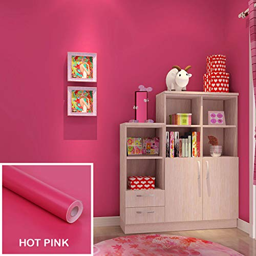Highpot Self-Adhesive Gloss Paper Wall Sticker Removable Wall Contact Paper Decals Panel Table Drawer Shelf Wall Crafts Contact Paper Wall Decorations (Hot Pink)