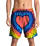 Mikkar Mens Shorts Pants Casual 3D Heart Printed Beach Work Short Trouser Sale