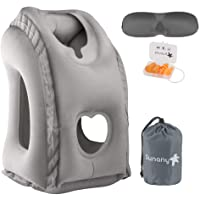 Sunany Inflatable Travel Pillow, Portable Airplane Pillow Inflatable Neck Pillow Used for Airplanes/Cars/Buses/Trains/Office Napping with Free Eye Mask/Earplugs (Grey)