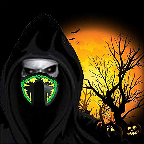 Auwer Scary Mask Halloween Cosplay LED Halloween Easter Rave Mask Luminous Costume Light Up Mask Easter Decor 2018 (H)
