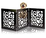 Safety Pet Gate for Dogs – Free-Standing & Foldable - Decorative Scroll Wooden Fence Barrier – Stairs & Doorways (Black)
