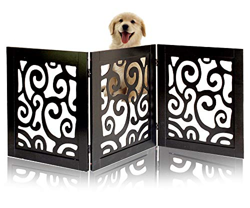 Safety Pet Gate for Dogs – Free-Standing & Foldable - Decorative Scroll Wooden Fence Barrier – Stairs & Doorways ()