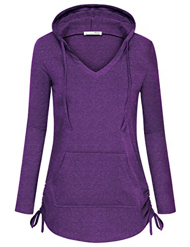 - Messic Sweatshirts for Women, Women's Long Sleeve V Neck Pullover Hoodie with Side Drawstrings (Medium, Violet)