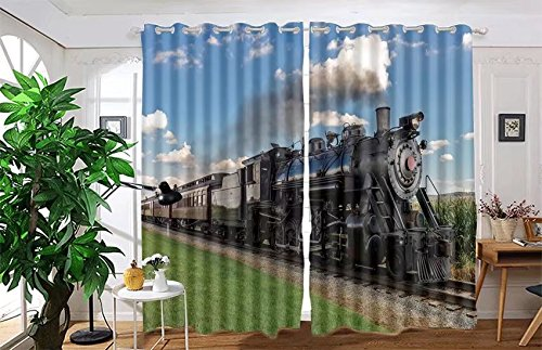 Train Window - vanfan 2 Panel Set Digital Printed Blackout Window Curtains for Bedroom Living Room Dining Room Kids Youth Room Window Drapes(W54 x L84, historic steam train passes through)