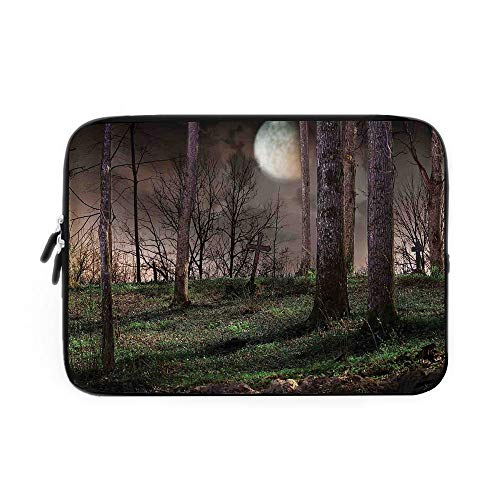 Gothic Laptop Sleeve Bag,Neoprene Sleeve Case/Dark Night in The Forest with Full Moon Horror Theme Grunge Style Halloween/for Apple MacBook Air Samsung Google Acer HP DELL Lenovo AsusBrown Gr