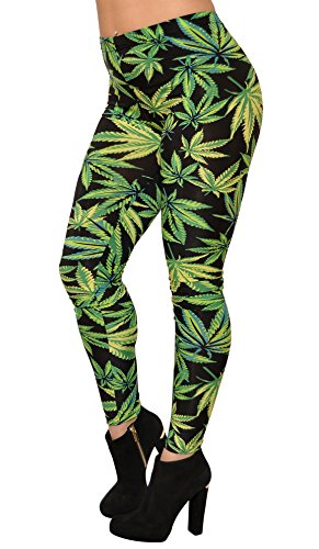 BadAssLeggings Women's Cannabis Crush Leggings 3XL Green