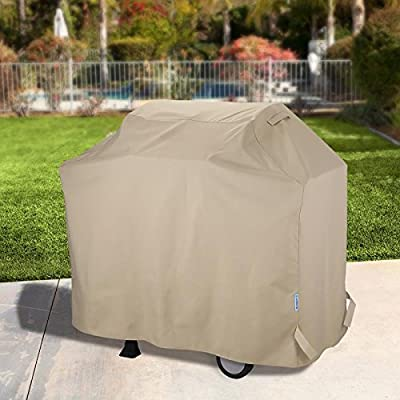 SunPatio Heavy Duty Waterproof Barbecue Gas Grill Cover, 55-inch BBQ Cover, Durable and Convenient, Fits Grills of Weber Char-Broil Nexgrill Brinkmann and More, Desert Sand