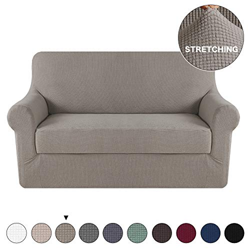 2 Pack Slipcover - Turquoize 2 Piece Sofa Cover Stretch Jacquard Sofa Slipcover for Loveseat Slipcover Spandex Machine Washable Stylish Furniture Cover/Protector Anti-Slip Form Fit Couch Slipcover (Loveseat, Taupe)