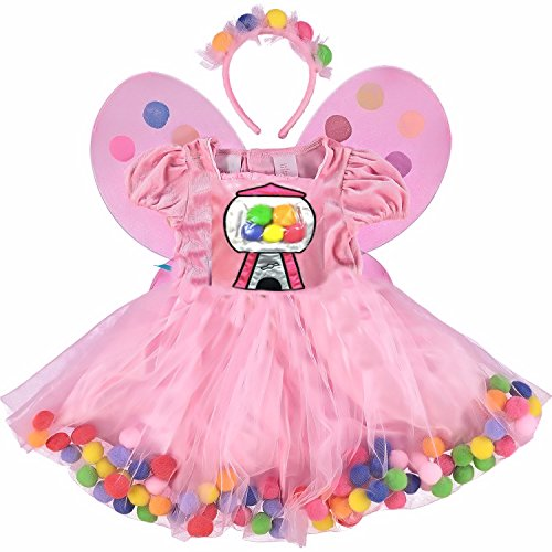 Princess Deluxe Costume 3 pieces ( Dress, Wings and Headpiece ) (3T, Bubblegum Princess)