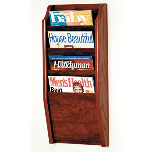 4 Pocket Magazine Holder (Wooden Mallet 4 Pocket Cascade Magazine Rack, Mahogany)