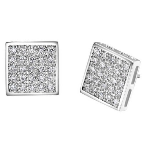 GT-DESIGN 925 Sterling Silver Stud Earrings CZ Korean Style Women Jewelry Cool Square Micro Pave Crystal Stones