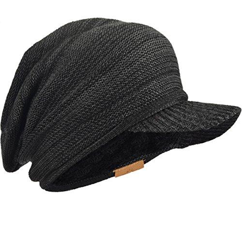 5ee3096a5a0 Mens Slouch Fleece Winter Visor Beanie Knit Cap Hat Oversized B319 (Dark  Grey-Black