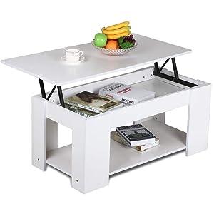 Yaheetech Grade E1 MDF & Iron Lift-up Top Coffee Table w/Hidden Storage Compartment & Shelf White