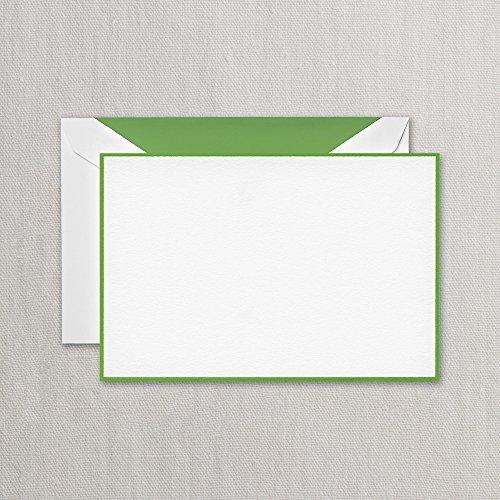 Crane Spring Green Bordered Correspondence Card, Pearl White (CC3786)