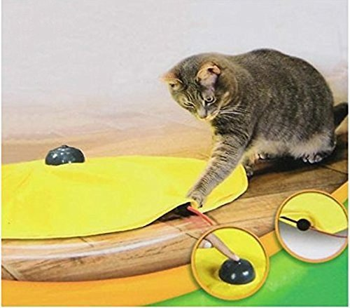 Yosoo 4 Speeds Cat Toy Undercover Mouse Fabric Interactive Electronic Kitten Pet Play W/ Yellow Shirt
