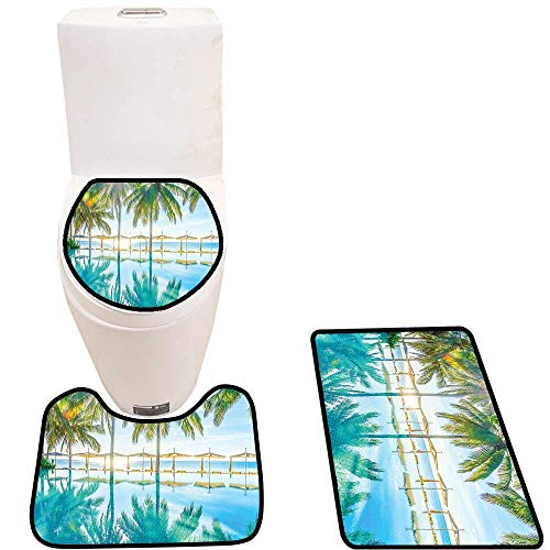 Toilet Carpet Floor mat Pool by The Beach with Bright Lights Seasonal Eden Hot Sunny Humid Coastal Non-Slip Soft Absorbent Bath Rug