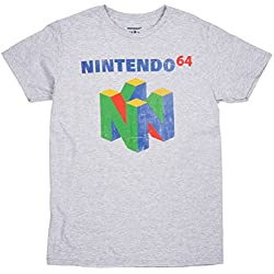 Nintendo 64 Men's Distressed Logo T-Shirt in Athletic Heather. S-2XL.