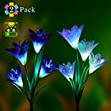 aphqua Solar Garden Lights Outdoor Lily Stakes, 2 Pack Solar Powered Garden night Lights with 8 Lily Flowers Multi-color Changing LED Solar Stake Lights for Garden,Patio,Backyard (Purple and White)