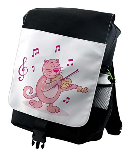 Lunarable Animal Backpack, Fat Cartoon Cat Plays Violin, Durable All-Purpose Bag (Fat Cat Accessory Pack)