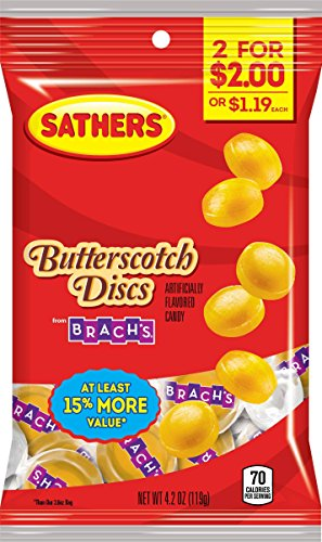 Sathers Discs Hard Candy, Butterscotch, 4.2 Ounce (Pack of 12)